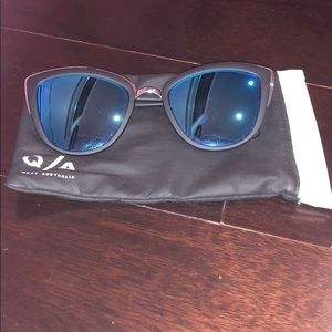 Quay Cat Eye Black and Blue Sunglasses
